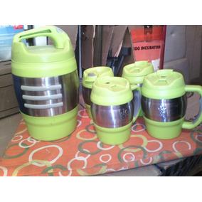 Juego De Dispensador De Liquido Con Vasos Con Tapas Verde
