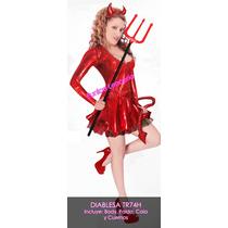 Disfraz Diabla Charol Vestido Sexy Para Dama Halloween Sp0
