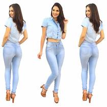 Calça Jeans Feminina Cintura Alta Hot Pants C/ Lycra 2 Peças
