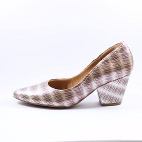 Sapato Usaflex Salto Grosso Metalizado 6201