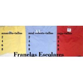 Franela Escolar Talla 2 4 6 8 Amarillo Azul Rojo Para Kinder