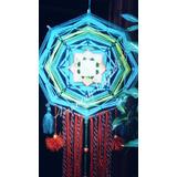 Atrapasueños Souvenirs Mandala Tejido Gde Flecos Largo 85cm