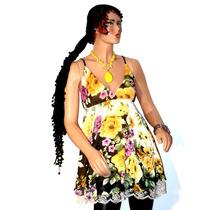 Blusa Vestido Solero Corto Gasa Estampada Flores Talle U