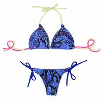 Bikini Triangulo Soft Doble Tira Y Colaless Para Atar Tout
