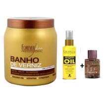 Banho De Verniz 1kg Forever Liss + Argan Oil 60ml + Brinde