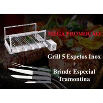 Grill Giratória Inox 5 Espetos Itajobi+ Brinde Tramontina