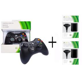 Controle Manete Sem Fio Xbox 360 +2 Bateria Carregador