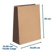 Saco Papel Kraft G- Fundo Largo 23,5x30x14,50 - Liso 200u