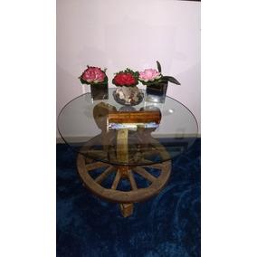 Mesa Decorativa Com Tampo Vidro Usada.