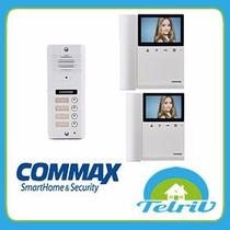 Portero Visor Commax 4 Pulsadores Multifamiliar 2 Monitores
