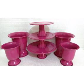 Suporte 3 Bandejas Alumínio Bolo Pink + 4 Vasos