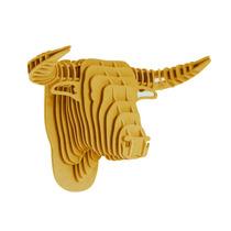 Toro Amarillo Cabeza Decorativa Animal Trofeo Valchromat8m