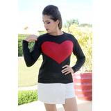 Blusa Feminina De Tricô Crochê Estampa Coração Moda Inverno