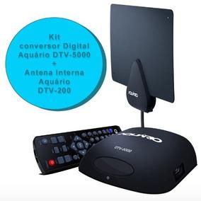 Kit Conversor Digital Dtv 5000 E Antena Interna Aquario Dtv