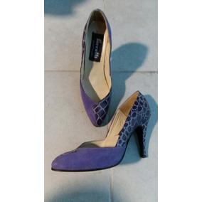 Zapatos Finos Mujer Stilettos 38 Violetas Cuero Y Gamuza
