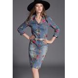 Mei Fashion / Vestido Jeans Floreado / Moda Coreana