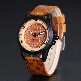 Relógio Masculino Tie-dan Pulseira Couro Cru