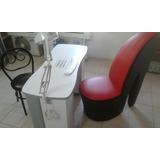 Mesa De Manicure Con Lampara Lupa + Mueble Tacon Y Silla