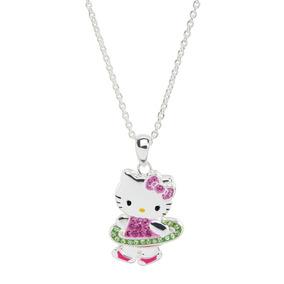 Hello Kitty Aro Hula Hula Con Cristales Plata Esterlina