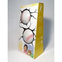 Lampara De Pared 3d Deco Light Beisbol Baseball 2 Dos Pelota