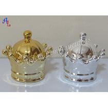 01 Porta Jóia Mini Coroa Porcelana Dourado Prata Rosa Branco