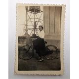 Antigua Fotografia Mujer Bicicleta Costanera Sur Circa 1940