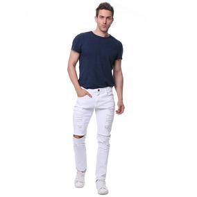 Jeans Entallados Destruidos C/cremallera En Rodilla P/hombre