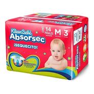 Pañales Kleenbebe Absorsec Unisex Mediano 14 Piezas Etapa 3
