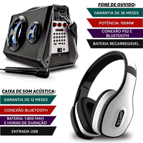 Caixa De Som Amplificada Usb Bluetooth + Fone Ouvido Branco