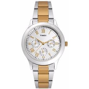 Reloj Timex Tw000q808 Plata/dor Dama Original Envío Gratis*