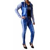 Conjunto Calça Jeans + Jaqueta Ou Short Jaqueta Com Moletom