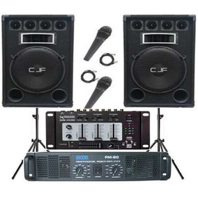 2 Bafle 15 600w+ Mixer Usb + Potencia Moon Pm 60 + 2 Mic Cjf