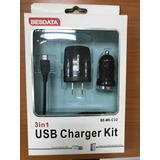 Kit Cargador Blackberry Micro Usb Cable,taco,ahorrador Carro