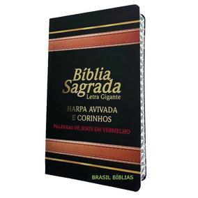 Bíblia Sagrada Letra Gigante Com Harpa Edição Luxo Preta