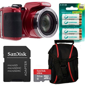 Combo Kodak Az252 Roja Mem 32g Bolso 4 Pilas Aa Sony Recarg