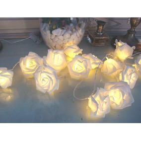 01 Cordão Luz Decorativo Pilha 10 Led De Rosas 2 Metros