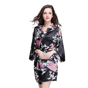 Deksias Mujeres S Impresión Peacock Kimono Robe Traje De ...
