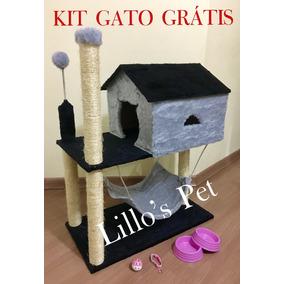 Arranhador Gato Casa Com Rede Kit Gratis