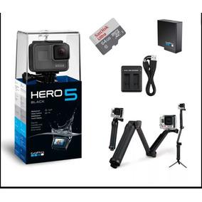 Gopro Hero 5 Black 4k +bastão +bateria Extra+64gb+carregador