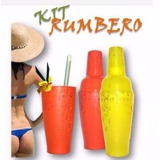 Coctelera De Plastico Kit Rumbero + 4 Vasos