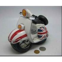 Alcancía Moto Blanca Con Bandera Britanica