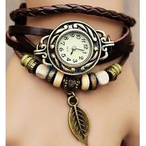 Relógio Feminino Vintage Couro Marrom Pingente Folha Pulso