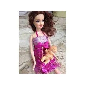 Boneca Grávida + Acessórios Linda Vestido