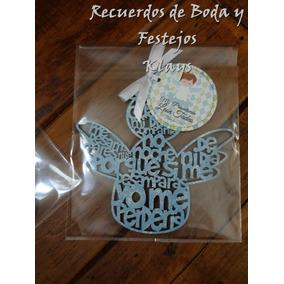 5 Llaveros Angel De La Guarda Silueta Angel Bautizo Boda