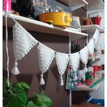 Guirnalda Banderines Crochet Blacos O Natural (110 Cms)