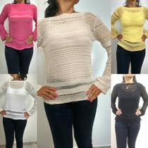 Blusa Tricot/tricô Feminina Veste Leg