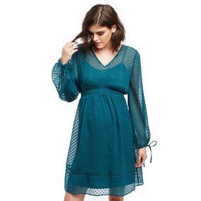Vestido Corto Boho Azul Grande L Transparencia Puntos Nuevo