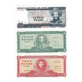 Billetes De Cuba Uncirculated 3, 5 Y 20 Pesos