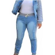 Calça Jeans Plus Size Moletom  Ribana Rasgada Cintura Alta