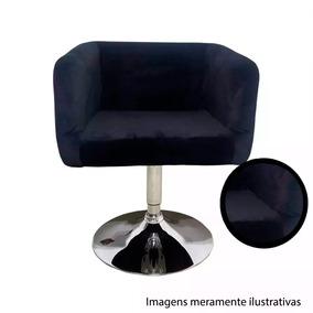 Cadeira Poltrona Decorativa Sala Giratoria Preta Et9133p